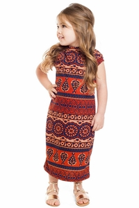 Junie Modest Little Girl Dress in Moroccan Print