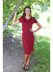 Kaitlin Modest Dress in Cranberry