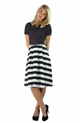 """Kara"" Stripe Skirt Modest Dress in Black"
