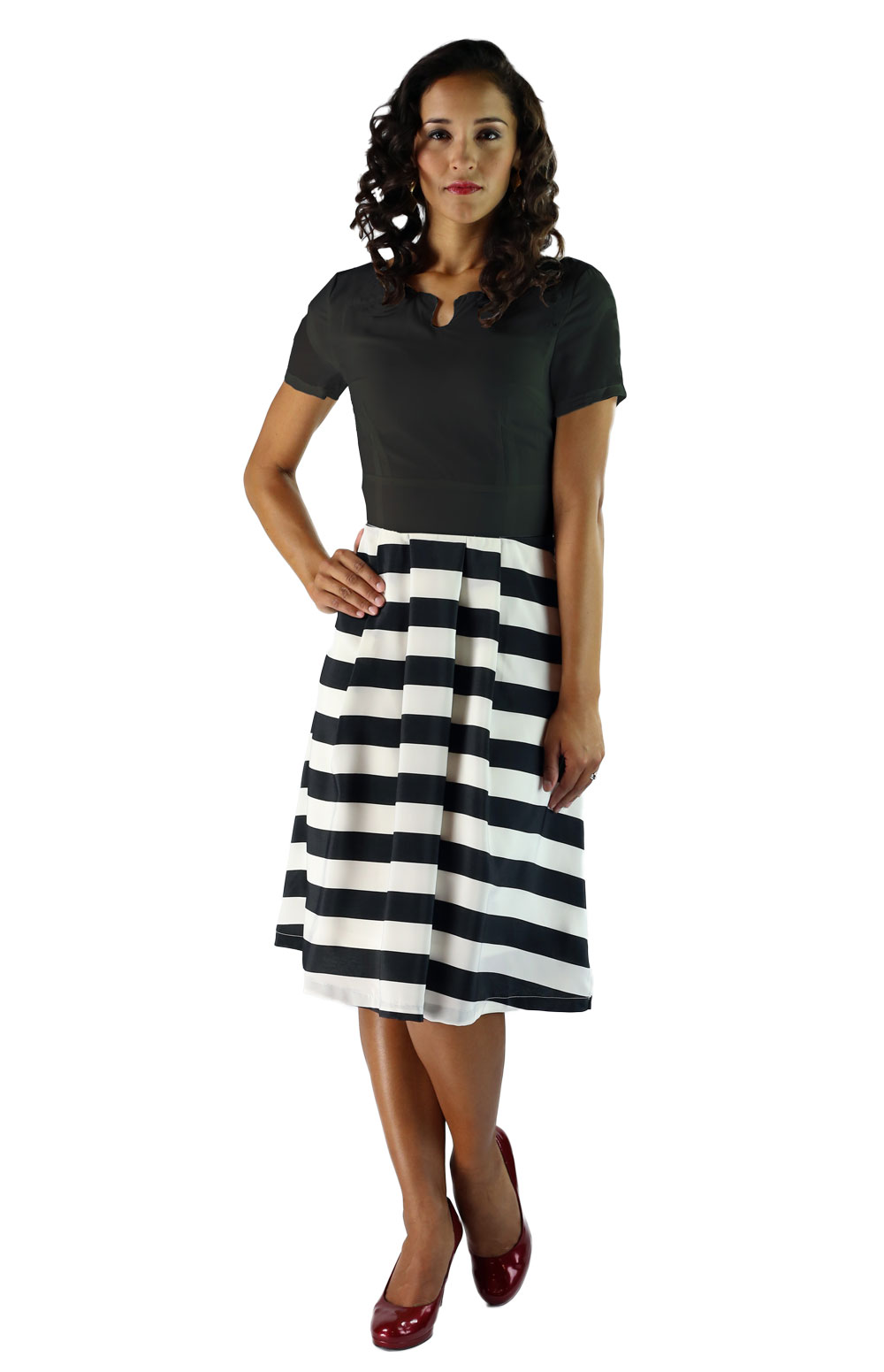 Modest A-line Dress in Black & White Stripes