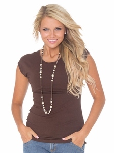 KneeShorts Basic Cap Sleeve Shirt in Brown *Final Sale*