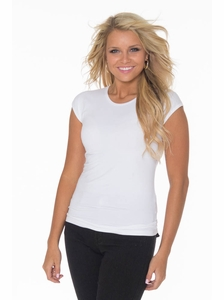 KneeShorts Basic Cap Sleeve Shirt in White