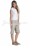 KneeShorts Women's Modest Drawstring Shorts, Khaki *Final Sale*