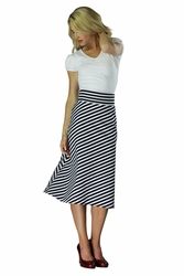 """Knit Midi A-Line"" Modest Skirt in Black/White Stripes *BACK IN STOCK*"