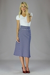 """Knit Midi A-Line"" Modest Skirt in Navy/White Stripes"