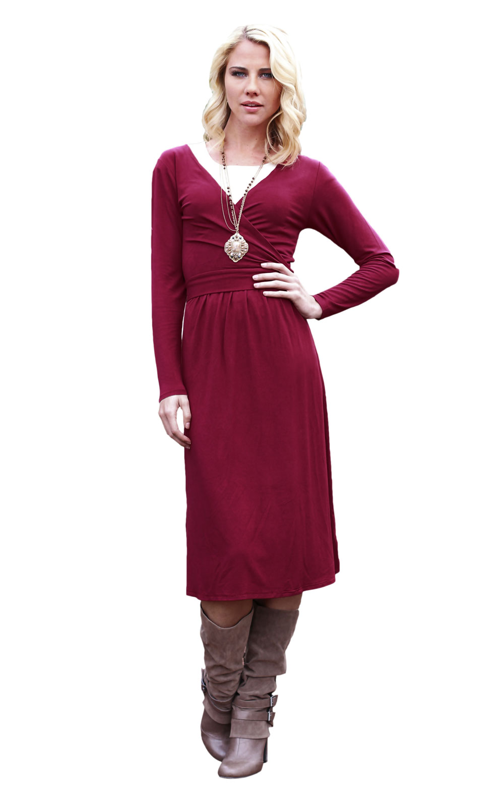 Modest Dresses: &quotKristy 2 Long-Sleeve&quot Modest Dress in Burnt Red