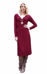 """Kristy"" Long-Sleeved Modest Dress in Burnt Red"
