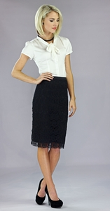 """Lace"" Modest Skirt in Black"
