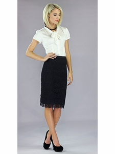 """""""Lace"""" Modest Skirt in Black"""