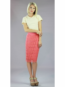 """Lace"" Modest Skirt in Coral"