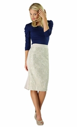 """Lace Panel"" Modest Skirt in Cream"