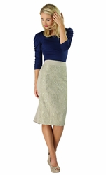 """Lace Panel"" Modest Skirt in Light Taupe"