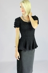 """Lace Peplum"" Modest Top in Black"