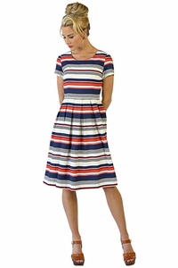 Liberty Modest Dress in Multi Color Stripe