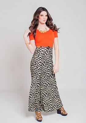 """Lila"" Modest Maxi Dress in Orange Missoni"