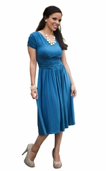 """Lilian"" Modest Dress in Blue Sapphire"