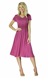 """Lilian"" Modest Dress in Boysenberry"