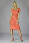 """Lily"" Modest Dress in Coral Bird Print"