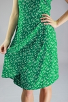 """Lily"" Modest Dress in Green Bird Print"