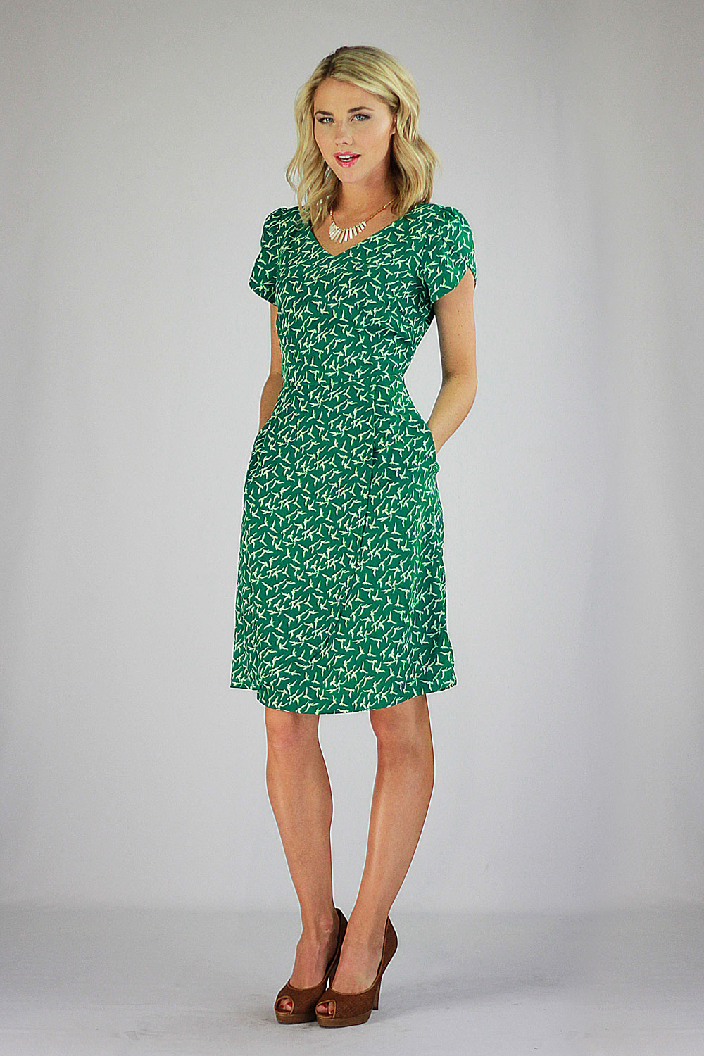 Modest Dresses in Green Bird Print