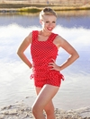 """Linda"" Modest Tankini Top in Red Polka Dot"