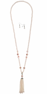 Long Light Pink Beaded Tassel Necklace w/Earrings