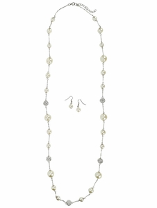Long White Pearl & Rhinestone Necklace w/Earrings