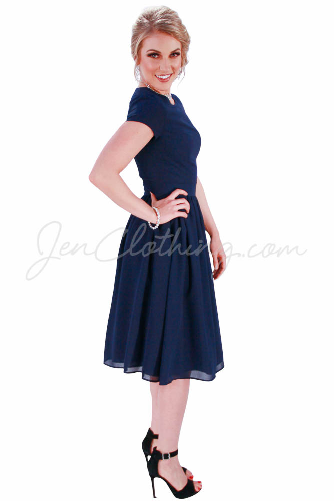 JenClothing&39s &quotLucy&quot Semi-Formal Modest Dress in Navy Blue