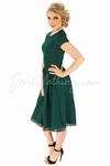 """Lucy"" Modest Dress in Dark Forest Green Chiffon"