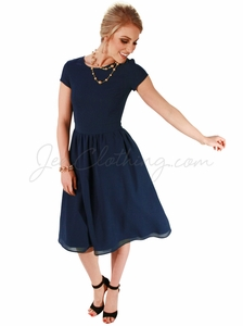 """Lucy"" Modest Dress in Navy Blue Chiffon"