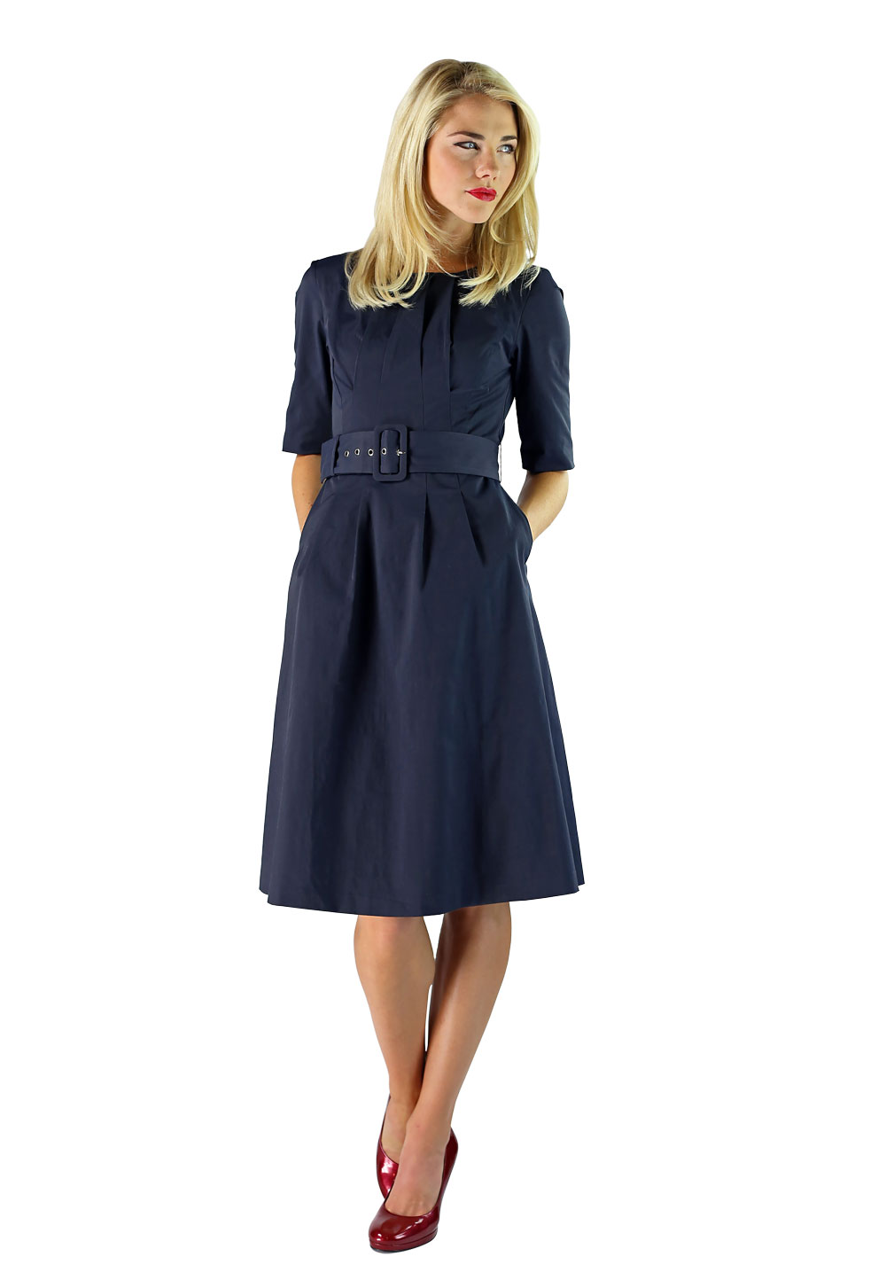 modest dress in navy