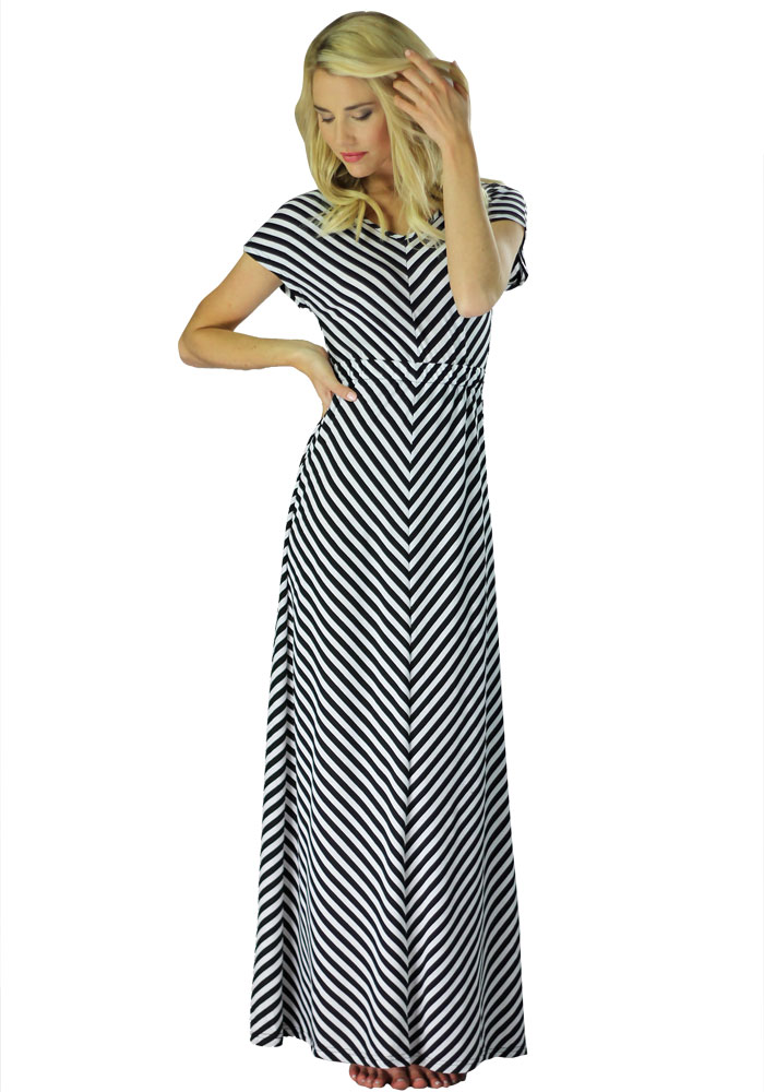 Modest Maxi Dress with Short Sleeves in Black and White Stripes