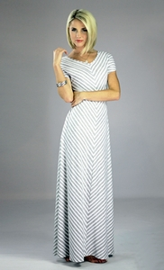 """Makenna"" Modest Maxi Dress in Gray Stripes *BACK IN STOCK*"