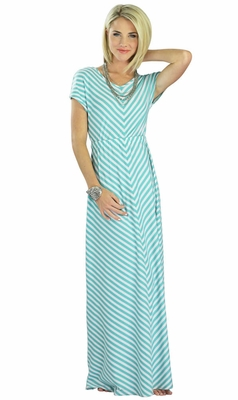 """Makenna"" Modest Maxi Dress in Teal Stripes *RESTOCKED*"
