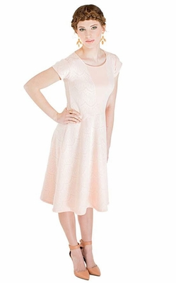 """Mariah"" Modest Lace Dress in Light Peach"