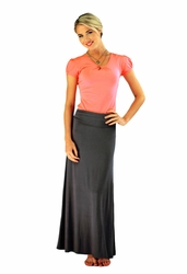 Knit Maxi Skirt in Dark Gray