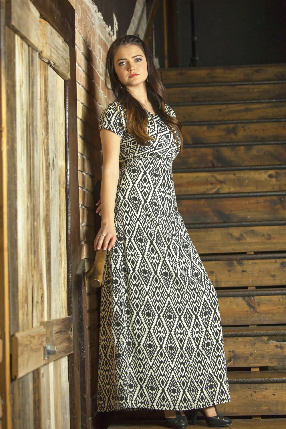 Modest Maxi-Length Dresses with Sleeves: Melinda in Aztec Print