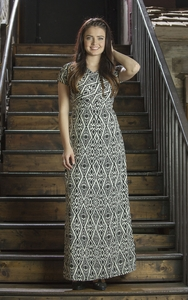 """Melinda"" Maxi Modest Dress in Aztec"