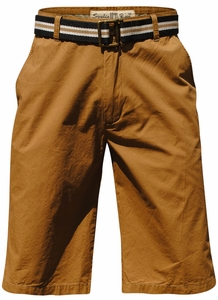 Men's Chino Knee-Length Shorts w/Belt in Wheat
