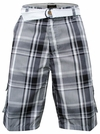 Men's Knee-length Cargo Shorts w/belt in Gray Plaid