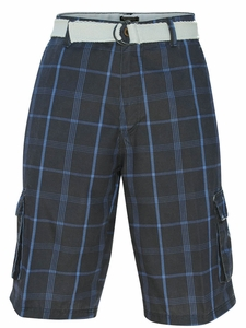 Men's Knee-length Cargo Shorts w/belt in Navy Blue Plaid