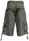 Men's Knee-length Cargo Shorts w/belt in Solid Dark Gray