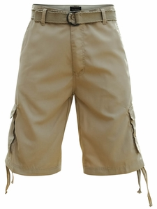 Men's Knee-length Cargo Shorts w/belt in Solid Khaki