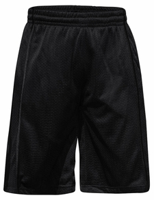 Men's Knee-Length Mesh Basketball Shorts, Black Stripe on Black