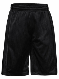 Men's Knee-Length Mesh Basketball Shorts, Black Stripe on Black *Final Sale*