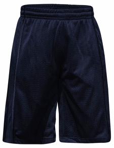 Men's Knee-Length Mesh Basketball Shorts, Navy Stripe on Navy