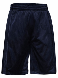 Men's Knee-Length Mesh Basketball Shorts, Navy Stripe on Navy *Final Sale*