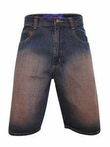 Men's Knee-Length Shorts in Dark Denim with Brown Sanded Finish *Final Sale*