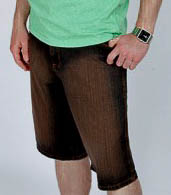Men's Knee-Length Shorts in Dark Denim with Brown Sanded Finish