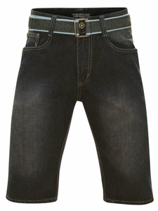 Men's Knee-Length Shorts w/Belt in Blue/Black Denim